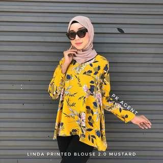 BLOUSE DOLL FLORAL PRINTED MUSTARD