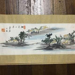 NOS Chinese Painting Houses by the Canal 27x8.5 Unframed
