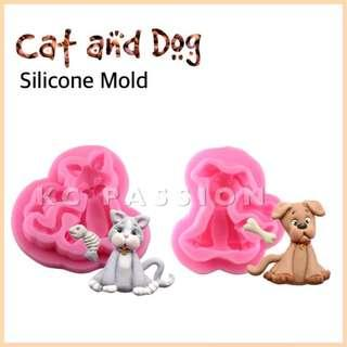🐶 CAT n' DOG SILICONE MOLD Decorating Tool for Pastry • Chocolate • Fondant • Gum Paste • Candy Melts • Jelly • Gummies • Agar Agar • Ice • Resin • Polymer Clay Craft Art • Candle Wax • Soap Mold • Chalk • Crayon Mould •