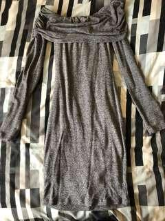 Bardot off shoulder grey dress