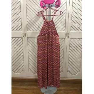 Maxi Dress Tribal Colorful Sexy Pink Red Orange