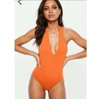 BNWT Plunge Orange V-neck Bodysuit