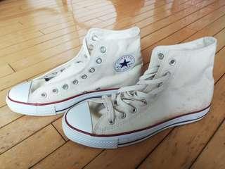 Converse All Star 高筒米白色帆布鞋 Chuck Taylor Core Hi 26.5cm