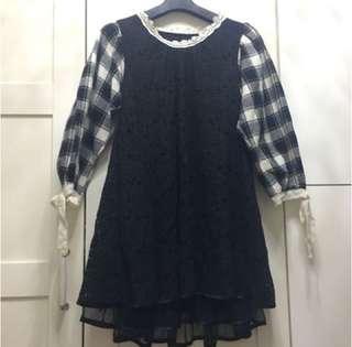 全新❗️潮娃娃裝新❗️👗韓國喱士滾花邊,連底輕紗底裙,棉質兩袖滾花邊