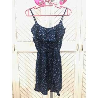 Navy Blue Printed Summer Dress