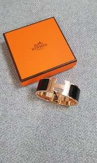 Brand New Hermes Clic Clac in Black w Rosegold Hardware