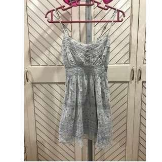 Light Blue Printed Baby Doll Summer Dress