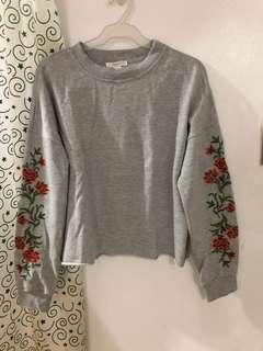 Forever 21 Gray Sweater with Embroidery