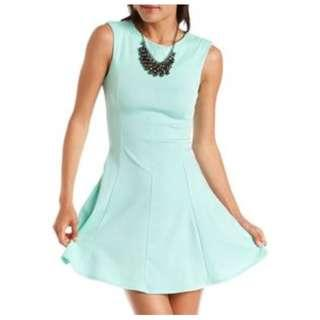 Mint Green Sleeveless Dress Charlotte Russe with Shoulder Pads Summer or Office Dress