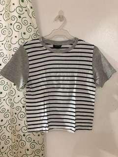 Topshop Stripes with Gray Sleeves Top