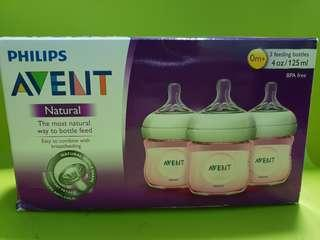 Avent Natural Brand New 3 bottles 4oz in Pink Genuine
