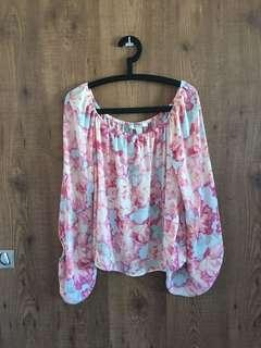FOREVER 21 Balloon Sleeves Floral Top