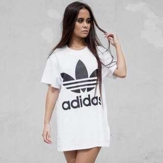 Adidas Trefoil White Dress Tee