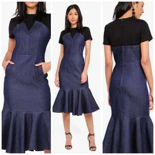 RESERVED Lapel Flap-Over Dress in Denim