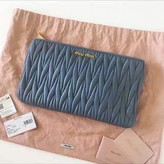 Authentic Miu Miu Matelasse Leather Clutch Bag