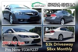 Honda Civic. $3,000 Downpayment ONLY!! Limited Units! COE Car.