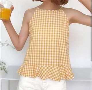 Yellow Gingham Peplum Tank Top