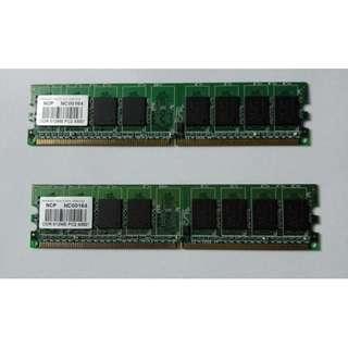 二手NCP 512M DDR2 x 2 (只限太子至荃灣交收)