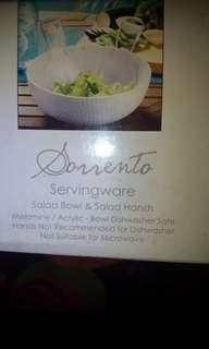 Salad bowl with salad hands servingware