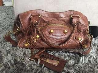 REPRICED! Balenciaga brown with giant gold hardware