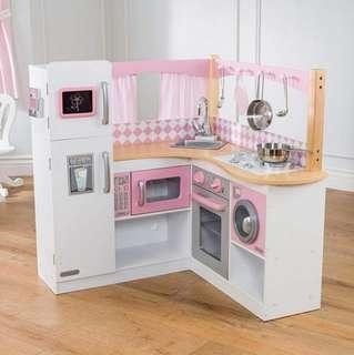 (PO) BN KidKraft Grand Gourmet Ultimate Corner Kitchen Play Set Sweet Pink & White
