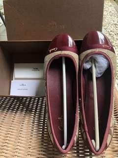 sepatu coach brown maroon signature