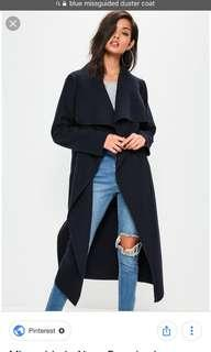 Navy missguided duster coat
