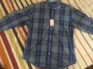 Izod long sleeve button front checkered plaid polo shirt