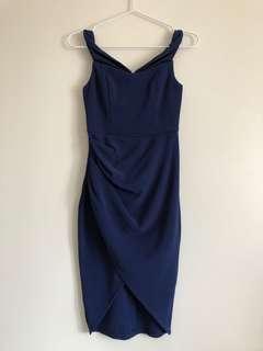 BNWT Hello Molly Off Shoulder Midi Wrap Navy Blue Dress 6