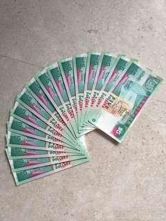16 PCS SINGAPORE $5 SHIP A/38 723524-32 & 34-40 RUN UNC