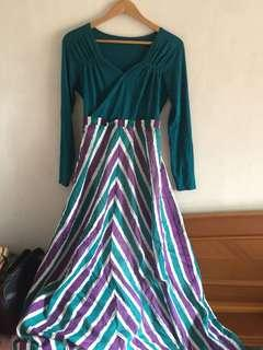 Long dress hijau stripe
