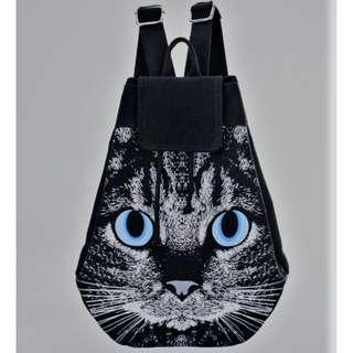 貓貓面帆布背包 全新