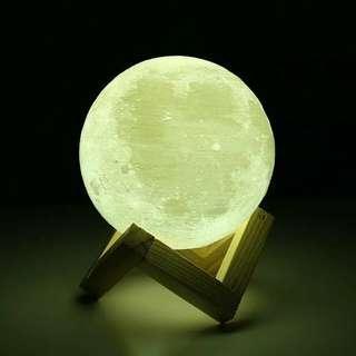 20cm Rechargeable 3D Moon Lamp 2 Colors Change Bedroom Gift
