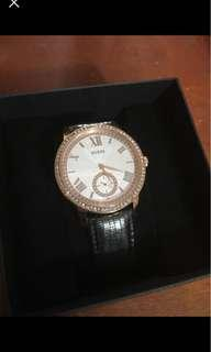 Black and Rose gold Guess watch