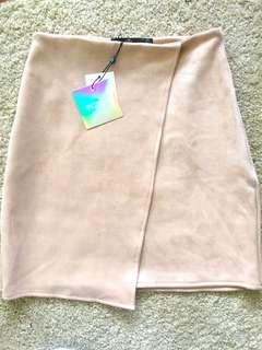 Misguided nude suede skirt