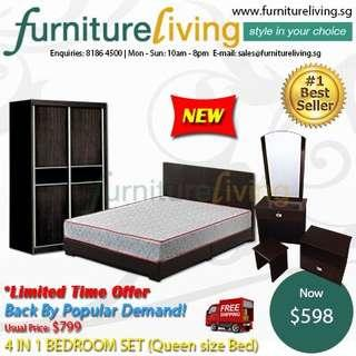 New 4 in 1 Bedroom Package Set (Bedframe/Wardrobe/Dresser/Stool) for only $598