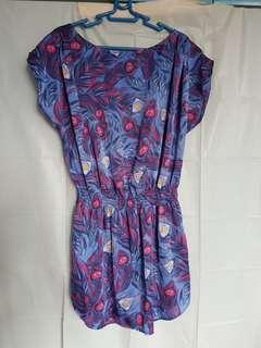 Peacock print dress/ tunic