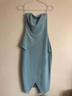 ASOS Strapless Midi Wrap Light Blue Dress XS
