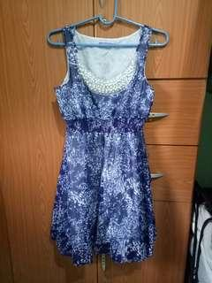 Blue printed party formal dress with beads