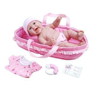 "(PO) BN La Newborn Realistic Baby Doll featuring 13"" All Vinyl Newborn Nursery Doll Baby Basket Gift Set w/ Accessories by JC Toys"