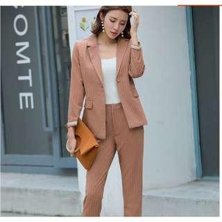 Pinstriped blazer and trousers