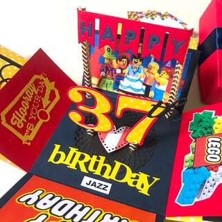 Happy 37 birthday LEGO Theme Explosion box card