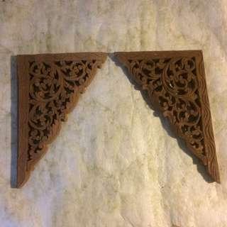 🆕 1 pair hand carved solid wood corner corbel