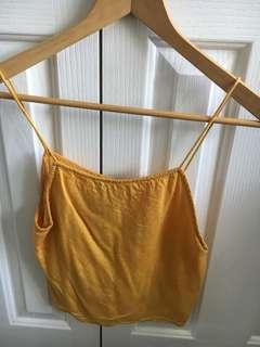 Yellow linen crop shoe string size 6 all about Eve