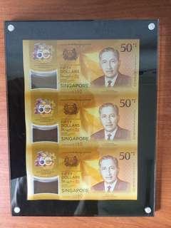 CIA 50 Singapore Brunei Commemorative Note 3-in-1 Uncut Sheet