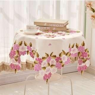 Blossoming Flower Embroidery Table Cloth,  清雅粉紫色繁花刺繡檯布 . 枱布