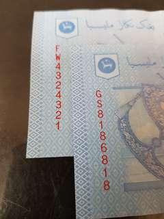 1 ringgit malaysia fancy/repeat number ×2