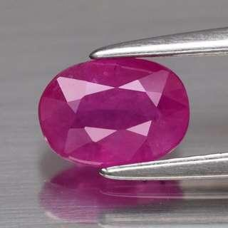 0.89ct Oval Natural Fiery Pinkish Red Ruby