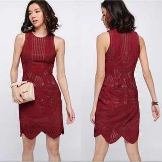 Lovebonito LB Olesya Mesh Overlay Dress In Red