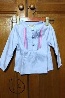 Baby Poney blue blouse 6-12m